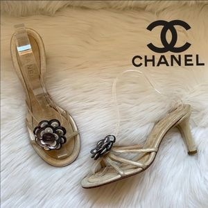 Auth. CHANEL CC Logo Button Camellia Flower Slides